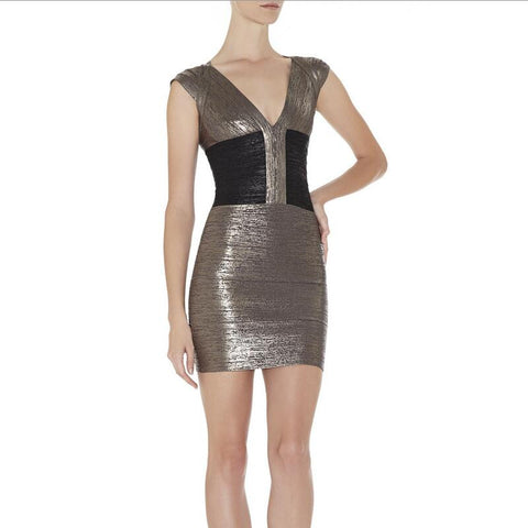 Capped Sleeves Color Block Bronze Club Bandage Dresses Cocktail Party