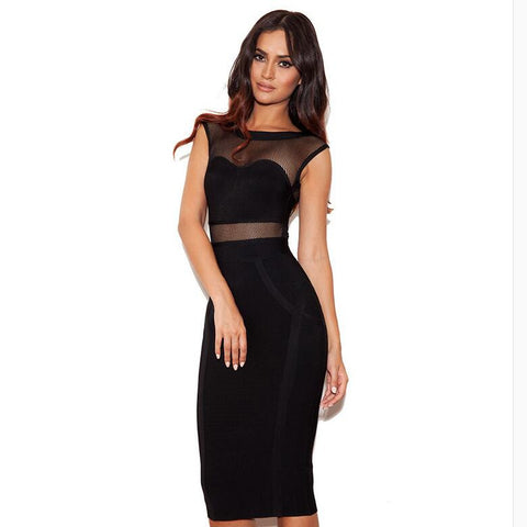Sheer Cap Sleeves Black Bandage Bodycon Dress Knee Length
