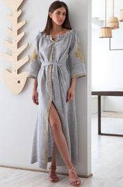 The Alexis Grey and Gold Dress