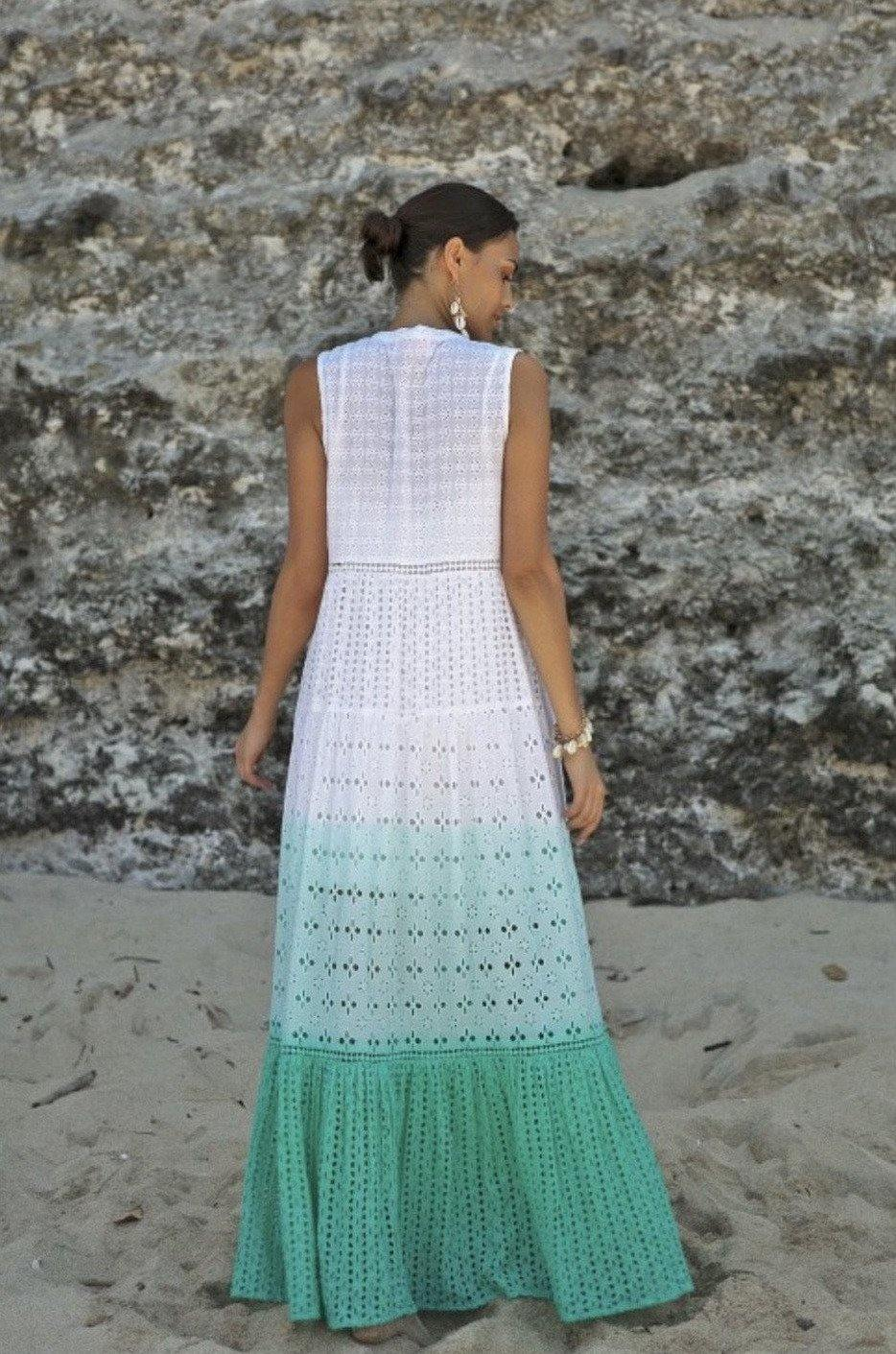 White and Turquoise Boho Lilly Long Maxi Dress
