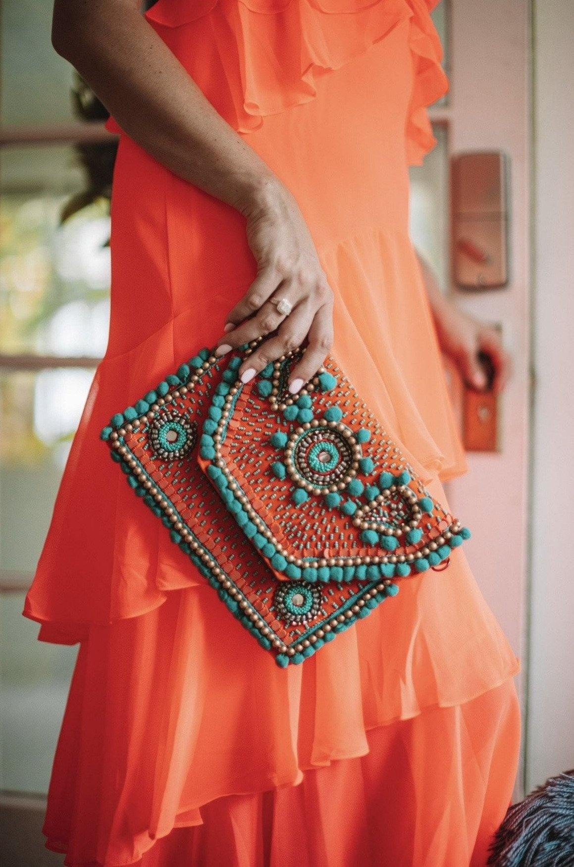 Coral and Teal Sunset Handbag
