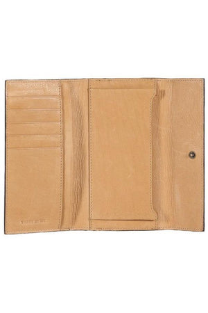 Tan and Black Leather Open Eyes Wallet - Bitsy Stoneking