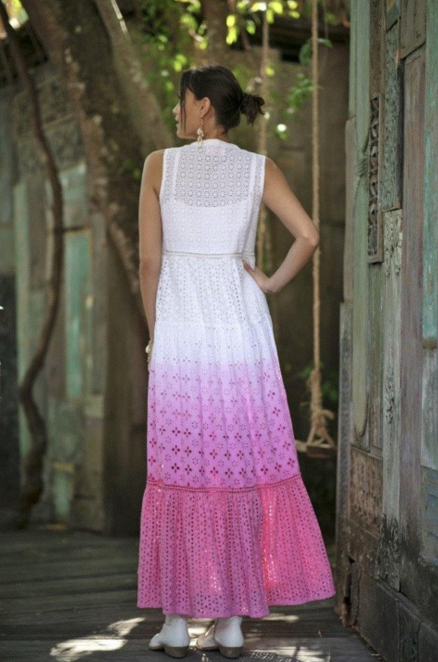 White and Pink Boho Lilly Long Maxi Dress