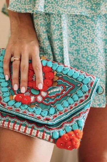 Fire Red and Teal Handbag