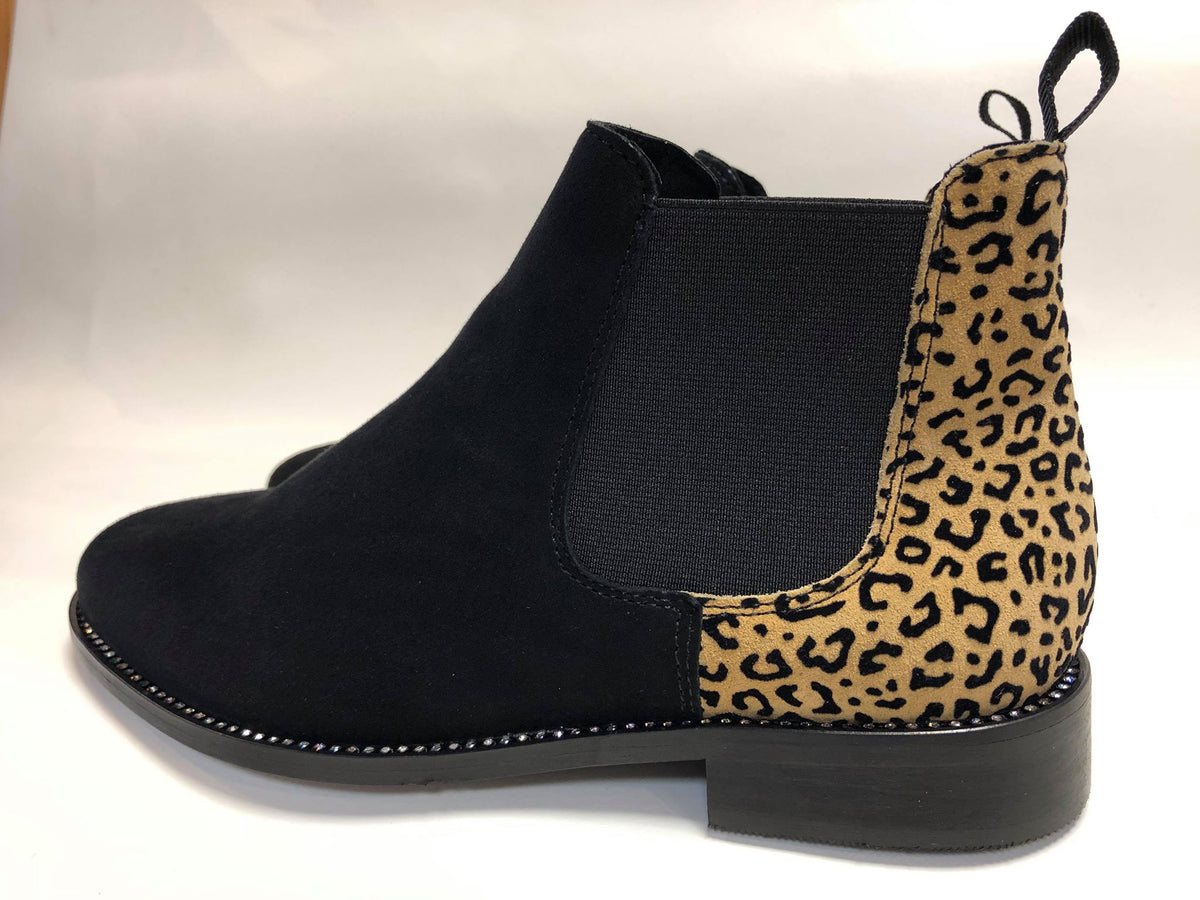 Black Suede with Leopard Print