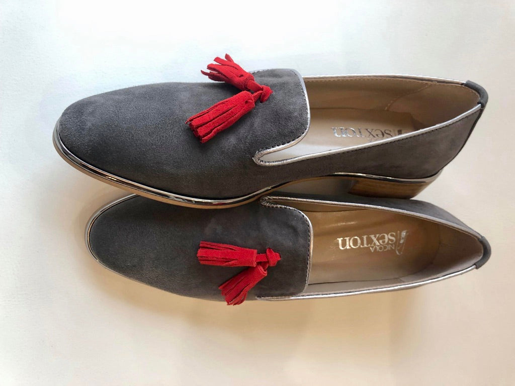 Grey Tassel Suede Loafer