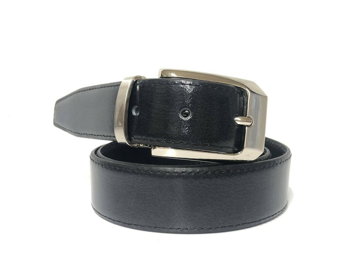 Black Italian Leather Belt - Adjustable Size