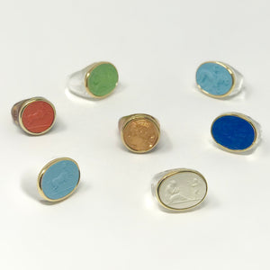 Italian Intaglio Resin Rings