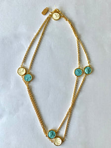 Long Chain with Blue and Ivory Reversible Intaglio
