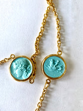Load image into Gallery viewer, Long Chain with Blue and Ivory Reversible Intaglio