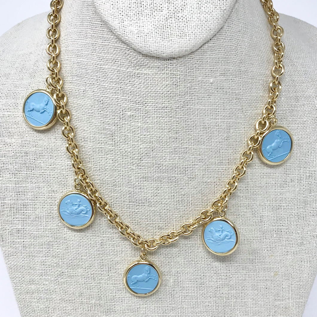 Rerversible Intaglio Necklace: Blue/Ivory