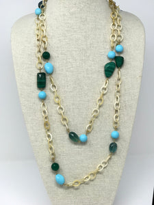Horn and semi-precious stone necklace