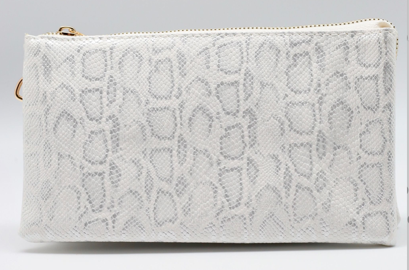 Silver and White Shimmer Clutch