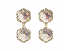 Load image into Gallery viewer, Pave Crystal Flower Drop Earrings
