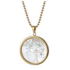 14K Vermeil Mother of Pearl Palm Tree and Crescent Charm