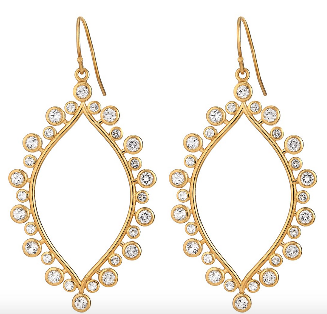 14K Vermeil Marquis Earrings with White Topaz
