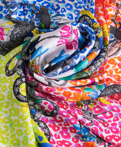 Colorful print silk scarf