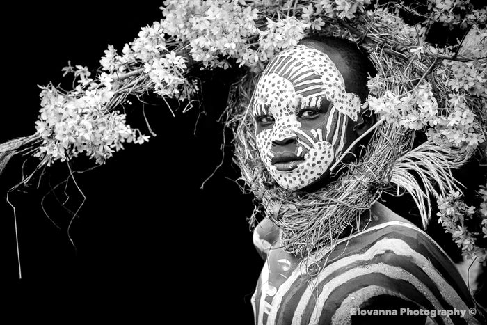 ABEBE - Suri boy with crown of flowers (BLACK & WHITE)