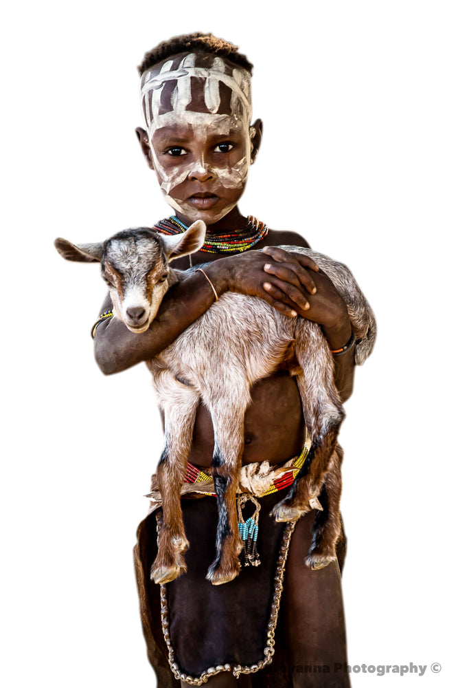 JONATHAN - Little Kara boy with baby goat