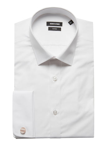 Tapered Fit Double Cuff White Shirt