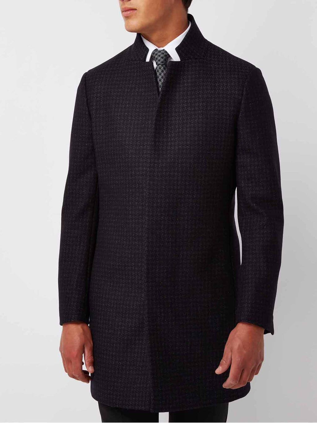 Mens overcoat navy check by remus uomo