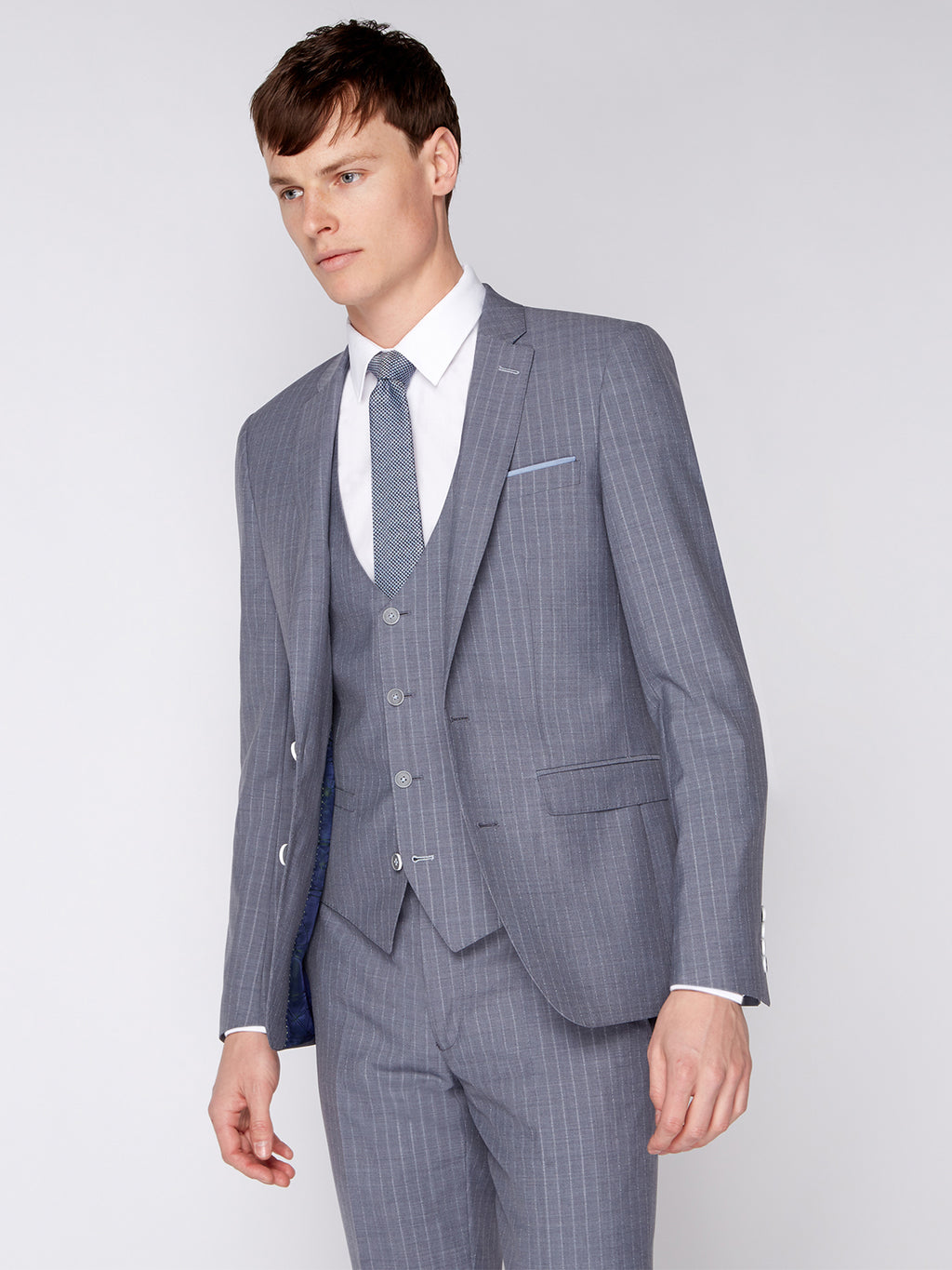 Tapered Fit Grey Pinstripe Suit