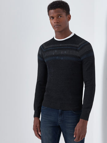 Grey Design Crew Neck Sweater