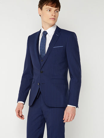 Tapered Navy Pinstripe Suit