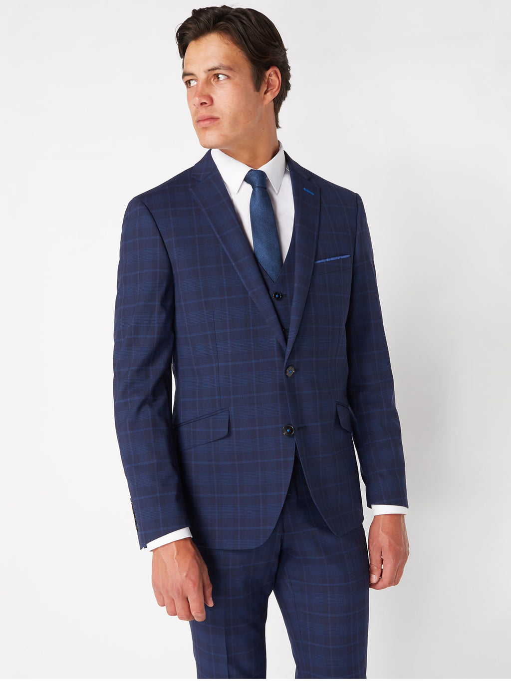 Navy Check 3-Piece Suit