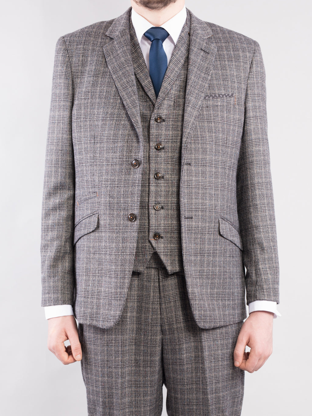 Tapered Fit Grey Check 3-Piece Tweed Suit