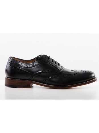 Black Chisel Toe Brogue Shoe