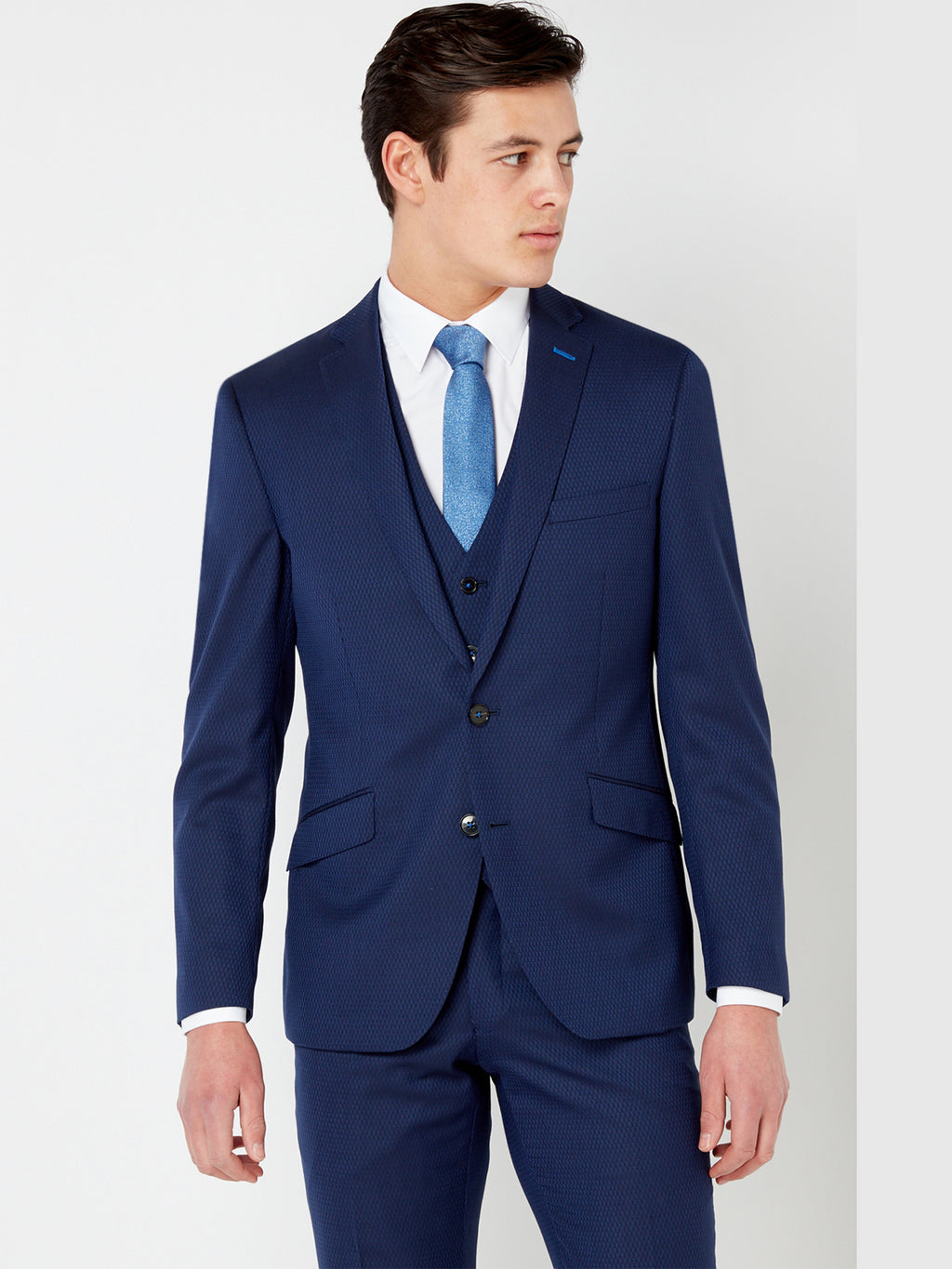 Tapered Navy Pattern Suit