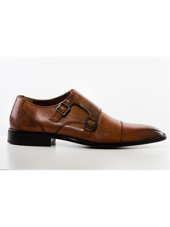 Tan Double Monk Shoe