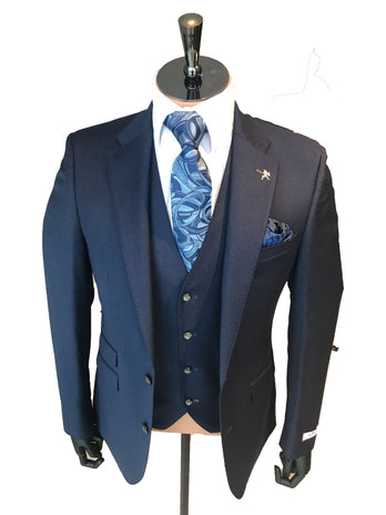 Slim Fit Navy Flannel Suit
