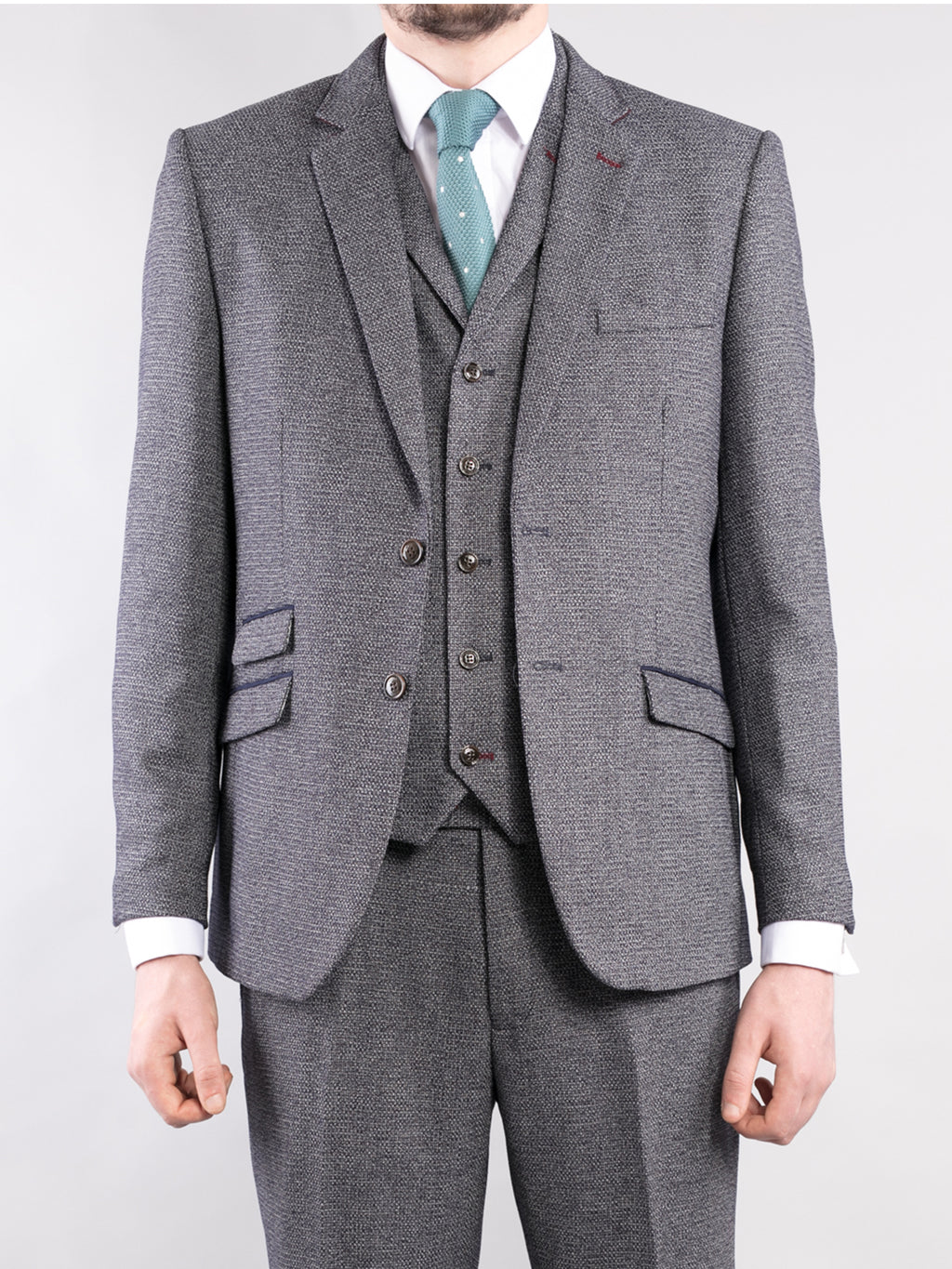 Tappered Fit Grey 3-Piece Tweed Suit