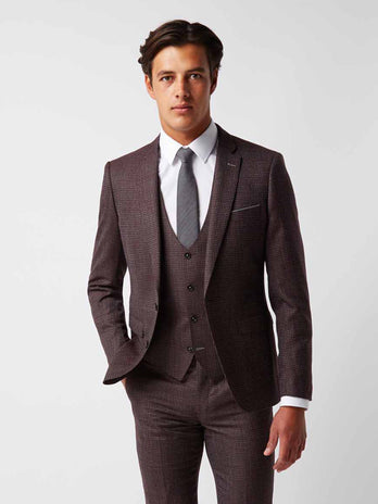 Slim Fit Burgundy Check Suit