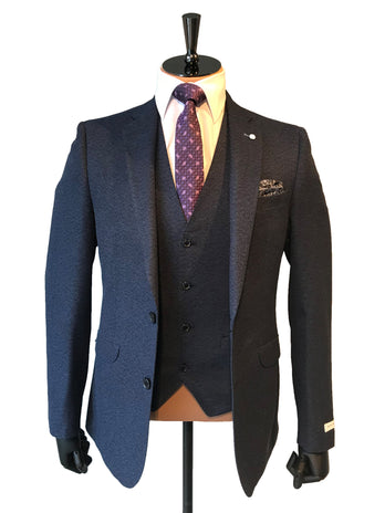 Slim Fit Navy Textured Suit