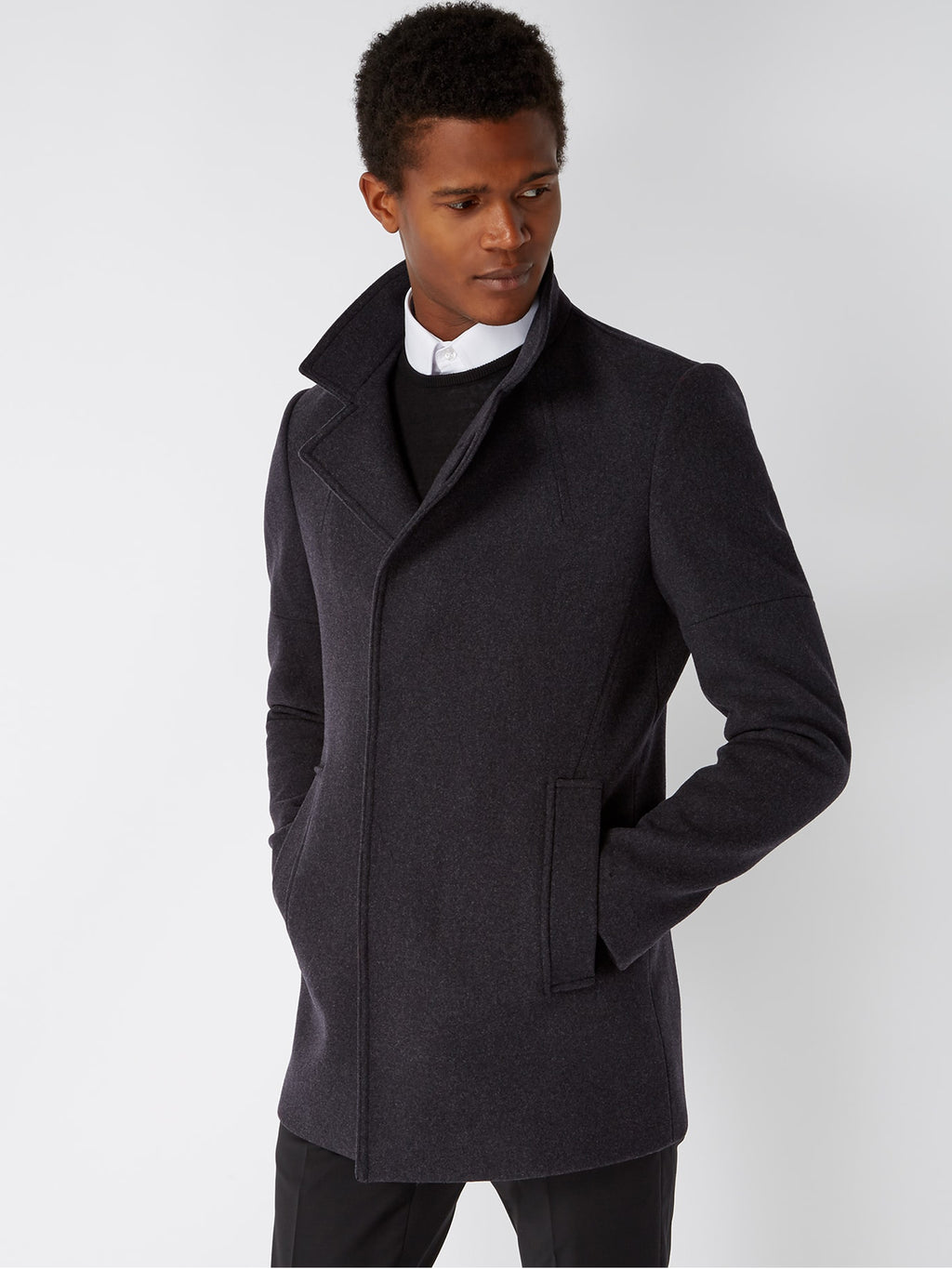 remus uomo charcoal grey overcoat