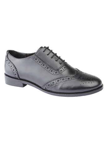 Girls Black Brogue Shoe
