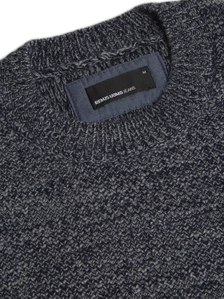 Navy / White Crew Neck Sweater