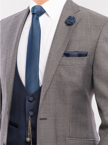 Grey Wool Lounge Wedding Suit