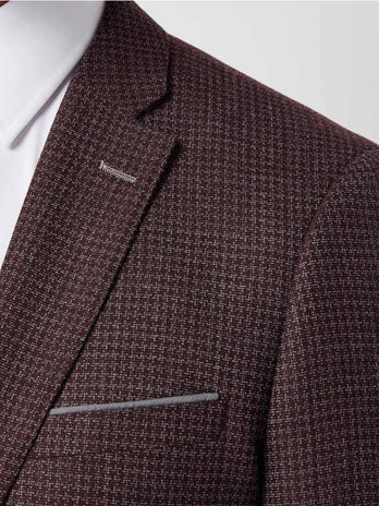 Slim Fit Burgundy Check 3-Piece Suit