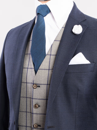 Navy Wool Lounge Wedding Suit