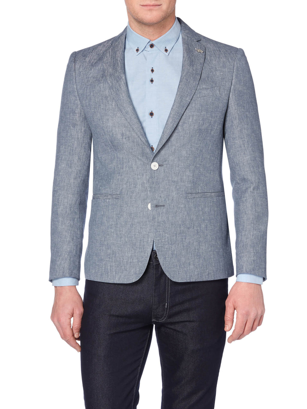 A blue linen blend blazer from Remus Uomo 10758/23