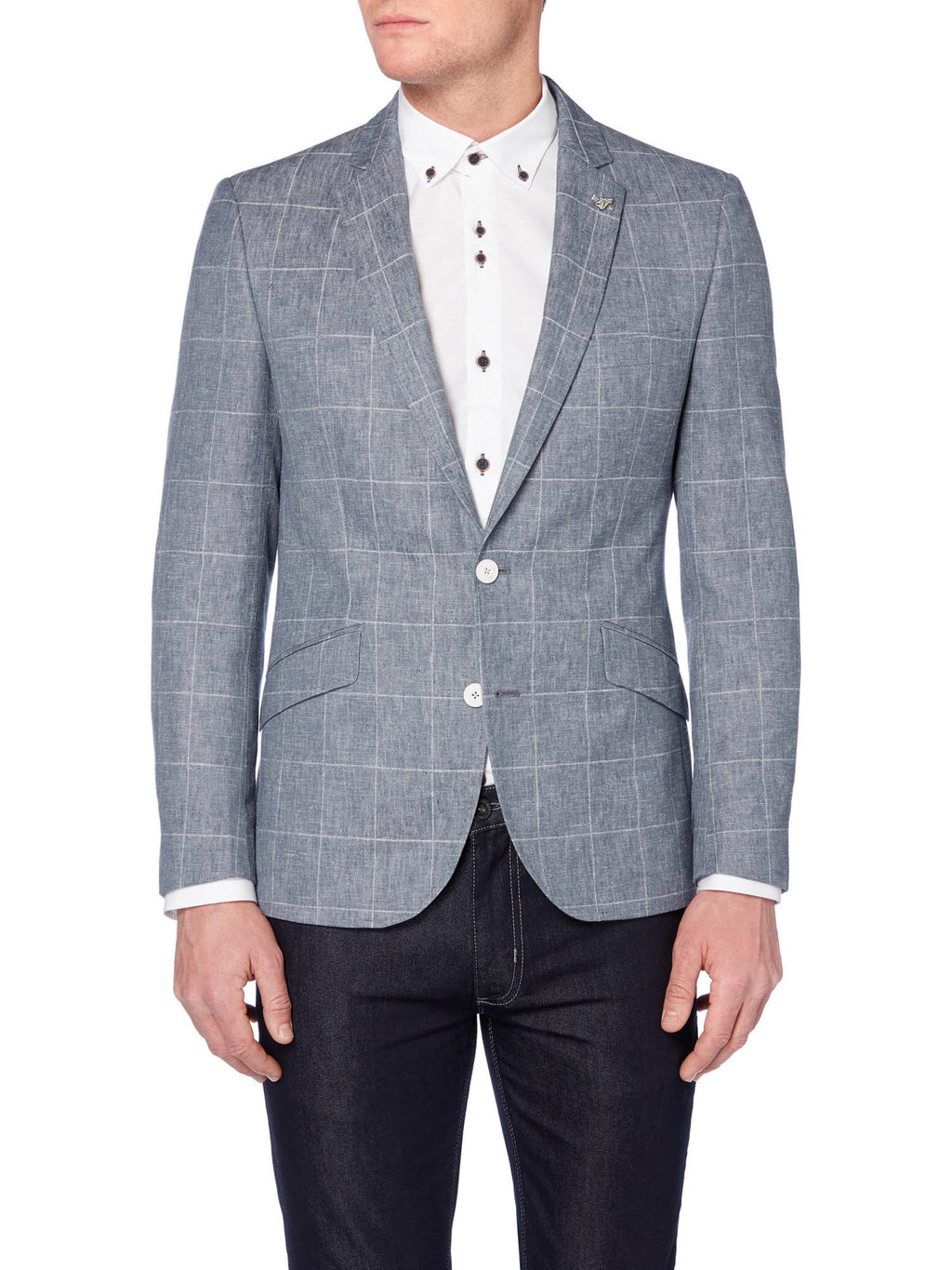 A blue checked linen blend blazer from Remus Uomo