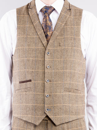 Tapered Fit Brown 3-Piece Tweed Suit