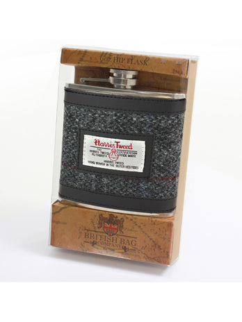 Grey Tweed 6oz Hipflask