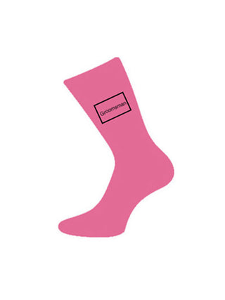 wedding socks groomsman pink