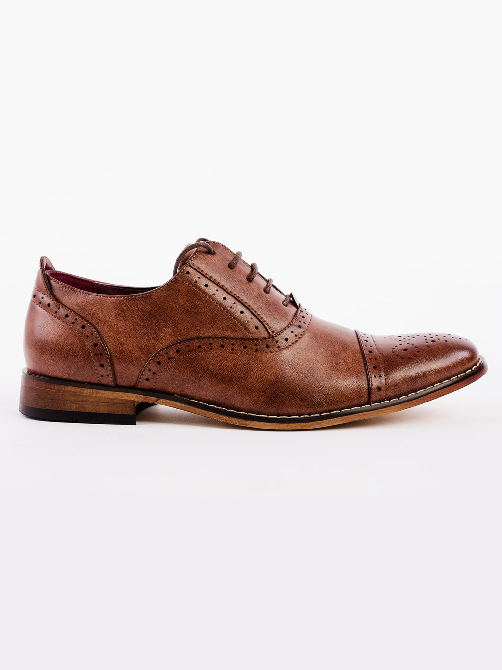 Mid Brown Capped Oxford Brogue Shoe