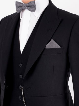 Black Herringbone Tailcoat Wedding Suit